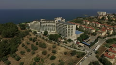 Aerial view of the hotel in Turkey resort with Aegean sea on the background Stock Footage