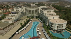 Beautiful hotel Amara Sealight with resort town on the background, Turkey Stock Footage