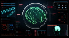 Scanning Brain in digital display dashboard. X-ray view Stock Footage