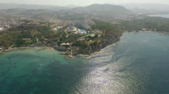 Aerial view of the Aegean coastline with mountains on the background Stock Footage
