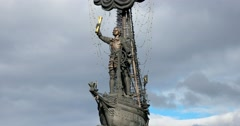 A fragment of the monument to Peter the Great in Moscow Stock Footage