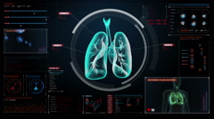 Rotating Human lungs, Pulmonary Diagnostics. X-ray image. medical technology. Stock Footage