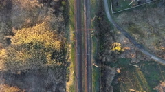 Railroad bird's-eye view, the railway in the country Stock Footage