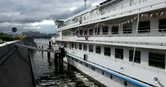The deck of the white ship at the pier of the Moscow river Stock Footage