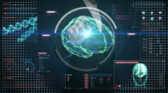 Businesswoman touching digital screen, Scanning Brain in digital display. Stock Footage