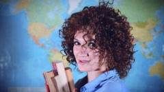 4K Teacher or Student Woman with Curly Hair Posing Nice with Books Stock Footage