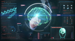 Businessman touching digital screen, Scanning Brain in digital display. Stock Footage