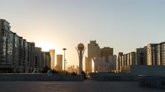 Bayterek - the central point of interest the capital of Kazakhstan. The Stock Footage