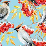 Watercolor waxwing and rowan pattern Stock Illustration