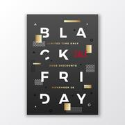Black Friday Swiss Style Typography Poster or Flayer. Modern Concept. Gold and Stock Illustration