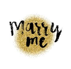 MARRY ME hand lettering, marriage and wedding concept, handmade calligraphy, Stock Illustration