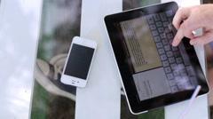 Man uses digital tablet Stock Footage