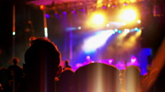 4K Music Festival Concert Stage, Crowd POV Silhouette and Flashing Lights Stock Footage