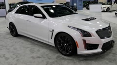 Cadillac CTS-V sedan on display during the Miami International Auto Show Stock Footage