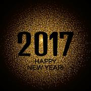 Happy New Year 2017 gold glitter new year background for banner flyer, poster Piirros