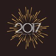 2017 Happy New Year. Beautiful greeting card calligraphy white text word gold Stock Illustration