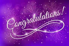 Congratulations. Card blue fireworks glowing fire blurred blue purple background Stock Illustration