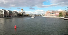 Pleasure boat floats on floats on the river, beautiful promenades of the capital Stock Footage