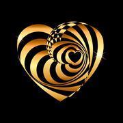 Heart of gold shining illusion of reality decoration luxury hotel company logo Stock Illustration