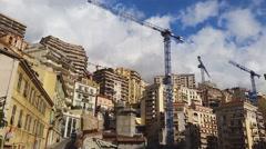 Buildings and Construction Cranes in Monaco Stock Footage