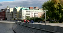 Krymskaya embankment, a beautiful pedestrian promenade on  the Moscow river Stock Footage