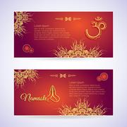 Website Template Yoga card with floral henna mehendi design Om Aum Namaste yoga Stock Illustration
