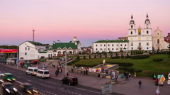 Aerial view of Minsk, Belarus at sunset. Time-lapse of people and cars Stock Footage