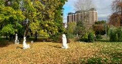 Sculpture in autumn Park modern art Muzeon, Stock Footage