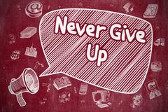 Never Give Up - Doodle Illustration on Red Chalkboard Stock Illustration