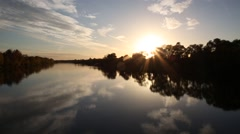 Autumn sunset on the river Stock Footage
