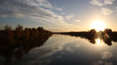 Aerial view autumn landscape of sunset on the river Stock Footage
