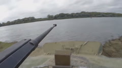 BMP-2 enters the water (GoPro) Stock Footage