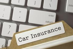 Card Index with Car Insurance. 3D Stock Illustration