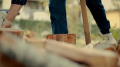 Cutting wood for the winter. Autumn. Stock Footage
