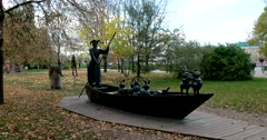 Favorite sculpture: Ded Mazay rescues hares from a small pond. Stock Footage