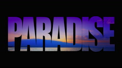 4K Paradise Animated Typography Text, Purple Sunrise Over Islands and Beach Stock Footage