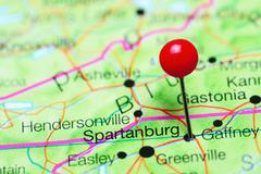 Spartanburg pinned on a map of South Carolina, USA Stock Photos