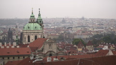 A view of Old Prague from above during a nice cloudy day at Autumn Pan Left Stock Footage