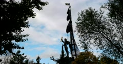 "The sculpture ""Peter the Great"" in Park ""Muzeon""  in Moscow Stock Footage"