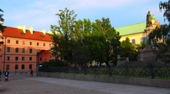 Quiet, cozy courtyard in Warsaw. Old city. Poland. 4K. Stock Footage