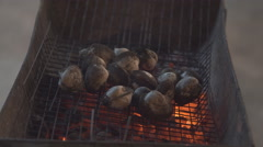 4k Snail Barbecue Grill cooking seafood. background eat Restaurant Stock Footage
