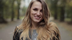 Emotional Woman Portrait.Girl in the Park. Stock Footage