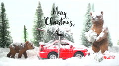 Scene 1, winter wonderland christmas scene with the text merry christmas Stock Footage
