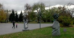 Small bronze statue of General Suvorov in the sculpture Park Stock Footage