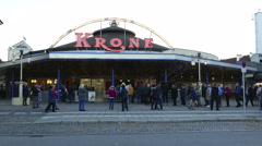 4K Audiences queue up at Circus Krone security check Munich Germany Europe Stock Footage