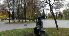 A monument to the poet and writer Mikhail Lermontov in the sculpture Park Stock Footage