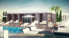 Rooftop Lounge Exterior Stock Footage