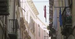 4K Row of apartments on a narrow Italian street. No people Stock Footage