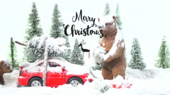Scene 2, winter wonderland christmas scene with the text merry christmas Stock Footage
