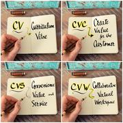 Photo collage of handwritten business acronyms Stock Photos